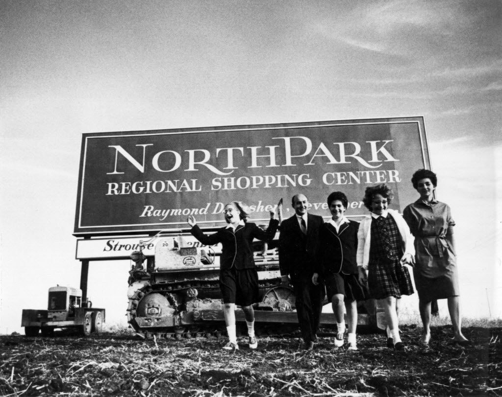 The Nasher family, from left: Andrea Nasher, Raymond Nasher, Joanie Nasher, Nancy Nasher and Patsy Nasher on land that would become NorthPark Center on March 15, 1963 (the shopping center opened in 1965).