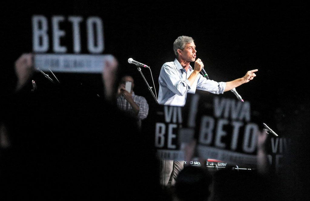 Senatorial candidate Beto O'Rourke talks to supporters at the Pavilion at Toyota Music Factory in Irving, Texas, photographed Tuesday, October 30, 2018.
