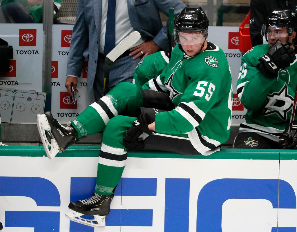 Dallas Stars defenseman Thomas Harley (55) comes onto the ice in the third period of a preseason NHL hockey game against the St. Louis Blues in Dallas, Monday, Sept. 16, 2019.