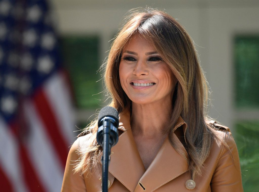 In this May 7, 2018 photo, first lady Melania Trump speaks on her initiatives during an event in the Rose Garden of the White House in Washington, D.C.