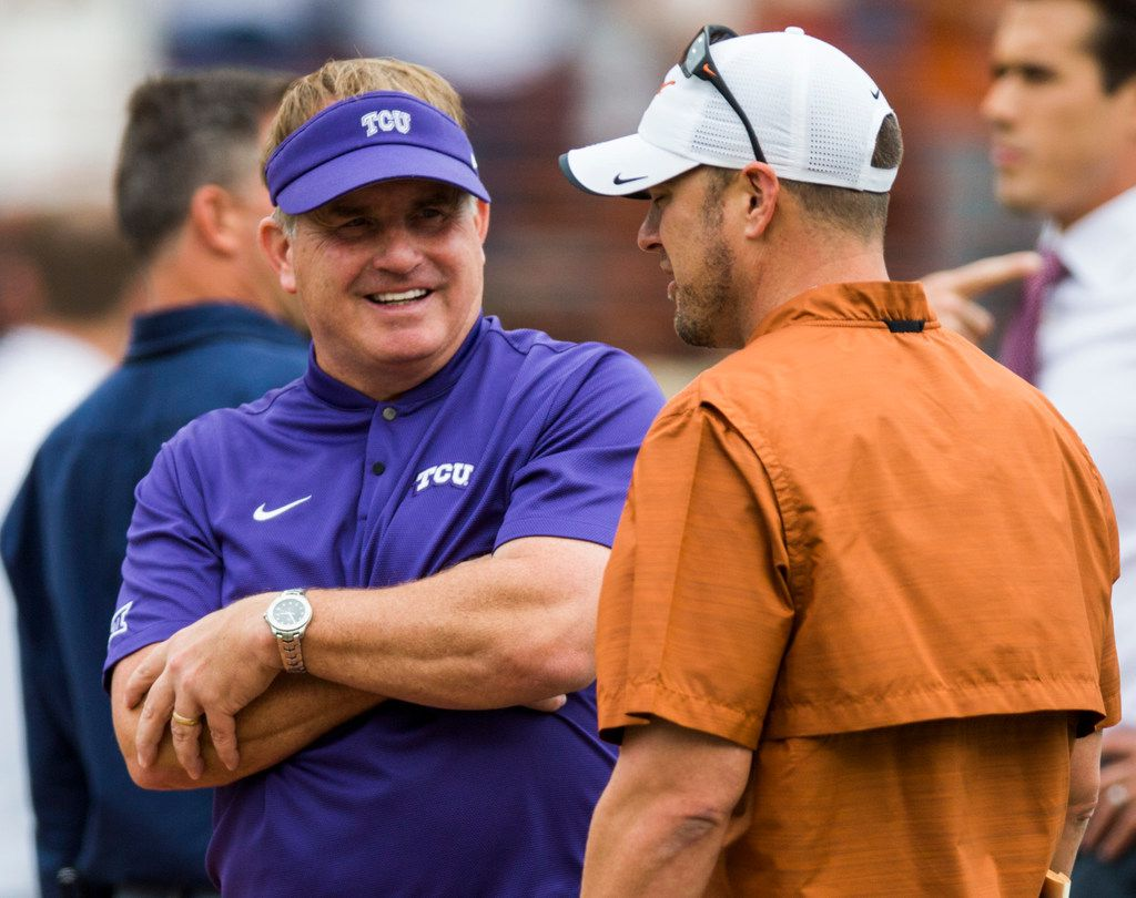 TCU Horned Frogs head coach Gary Patterson greets Texas Longhorns head coach Tom Herman before a college football game between TCU and the University of Texas on Saturday, September 22, 2018 at Darrell K Royal - Texas Memorial Stadium in Austin. (Ashley Landis/The Dallas Morning News)