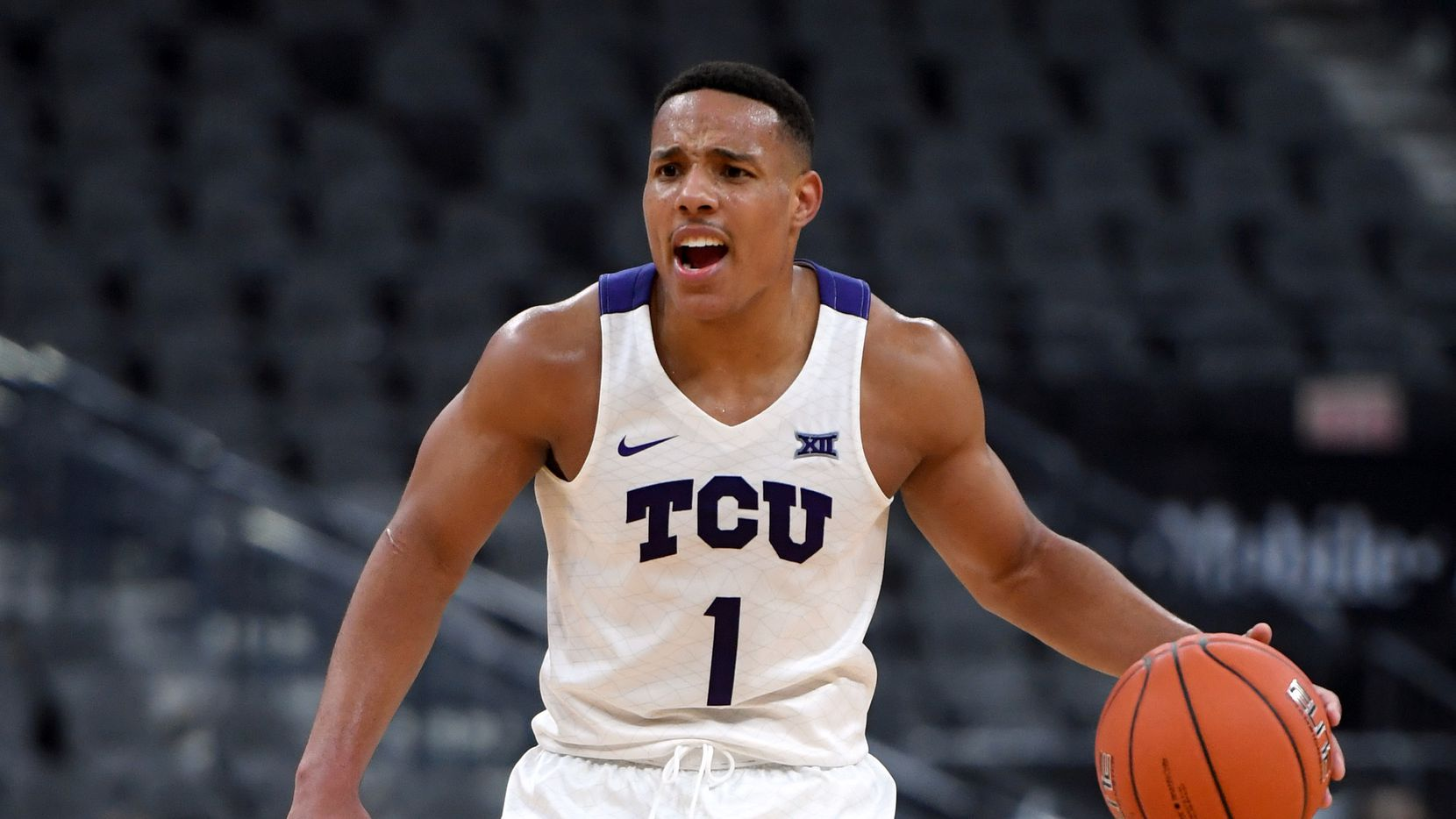 LAS VEGAS, NEVADA - NOVEMBER 24:  Desmond Bane #1 of the TCU Horned Frogs brings the ball up the court against the Clemson Tigers during the MGM Resorts Main Event basketball tournament at T-Mobile Arena on November 24, 2019 in Las Vegas, Nevada. The Tigers defeated the Horned Frogs 62-60 in overtime.
