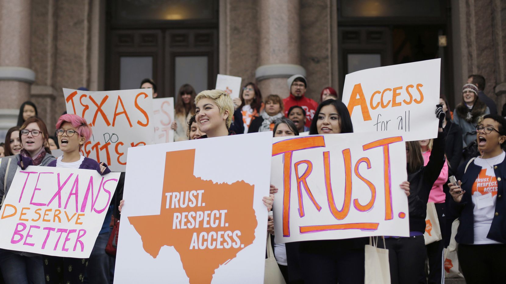 Women in Texas have been battling the erosion of abortion rights for almost two decades. This 2015 rally by students and abortion rights activists on the steps of the Texas Capitol in Austin protest previous restrictions put in place by the state Legislature.