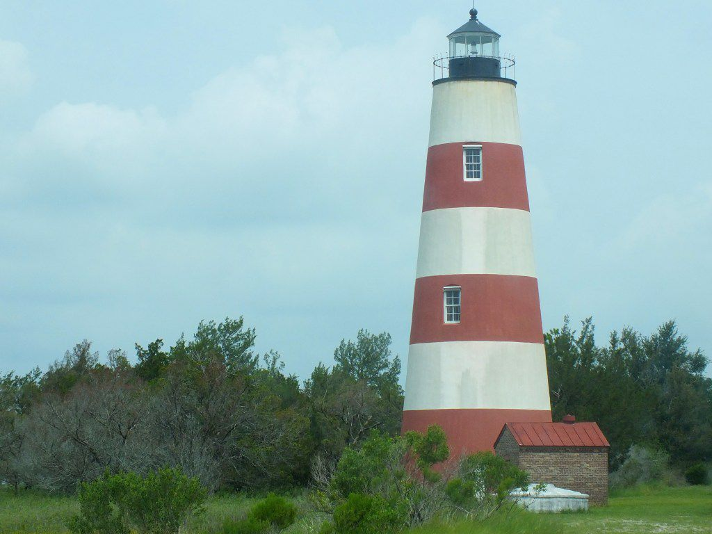 The Sapelo Light Station is a popular stop for photographs during tours of Sapelo Island, Georgia.