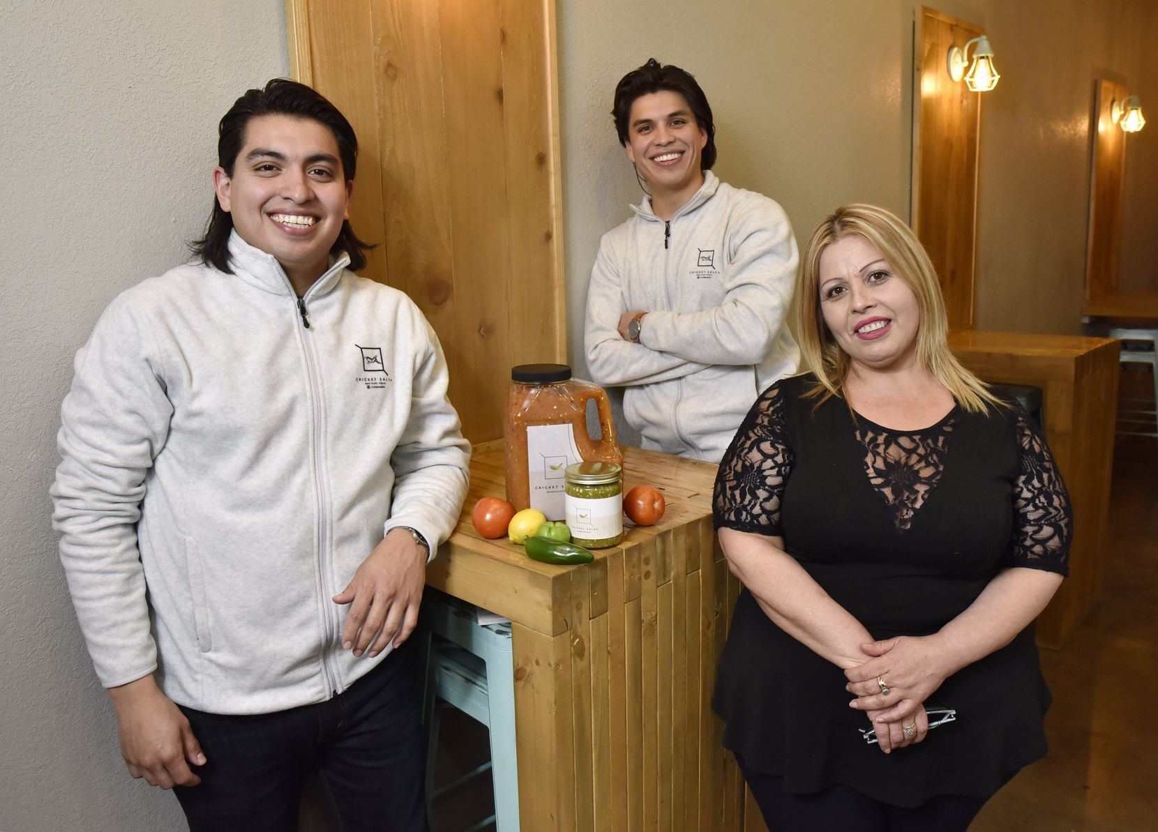 Cricket Salsa co-founders Daniel Costilla (left), 31, and Christian Costilla, 28, use a salsa recipe created by their mother, Martha Costilla.