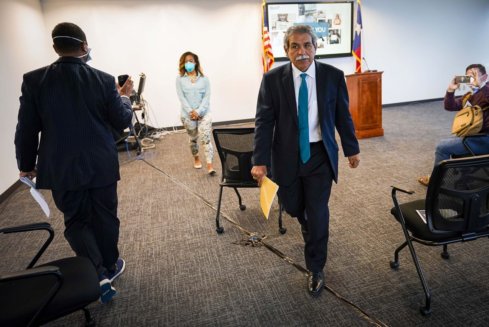 DISD superintendent Michael Hinojosa departs a press conference to provide updates on the district's response to the COVID-19 pandemic at the Linus D. Wright Dallas ISD Administration Building on Monday, April 6, 2020, in Dallas.