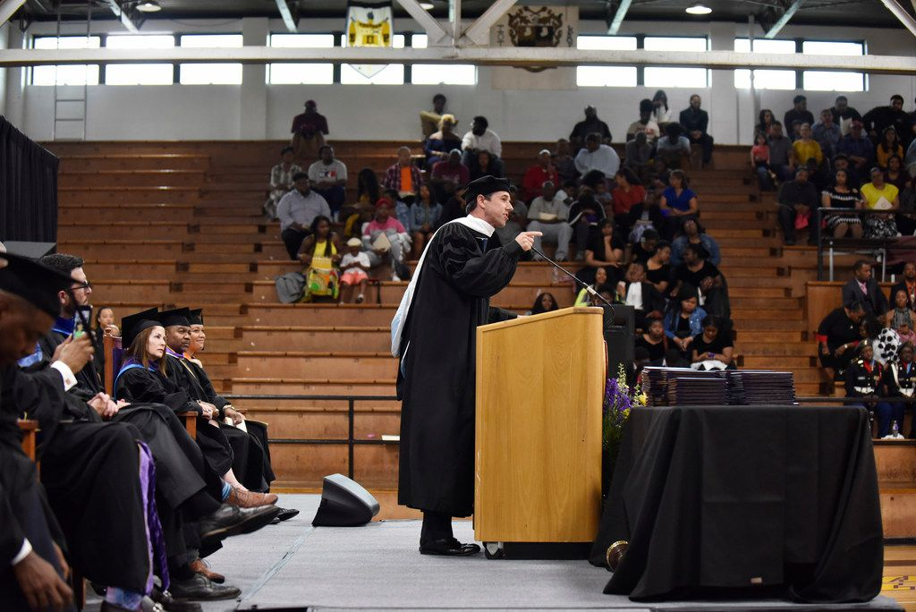 Presidential candidate Beto O'Rourke delivers the address at Paul Quinn College's 143rd commencement convocation on Saturday, May 4, 2019.