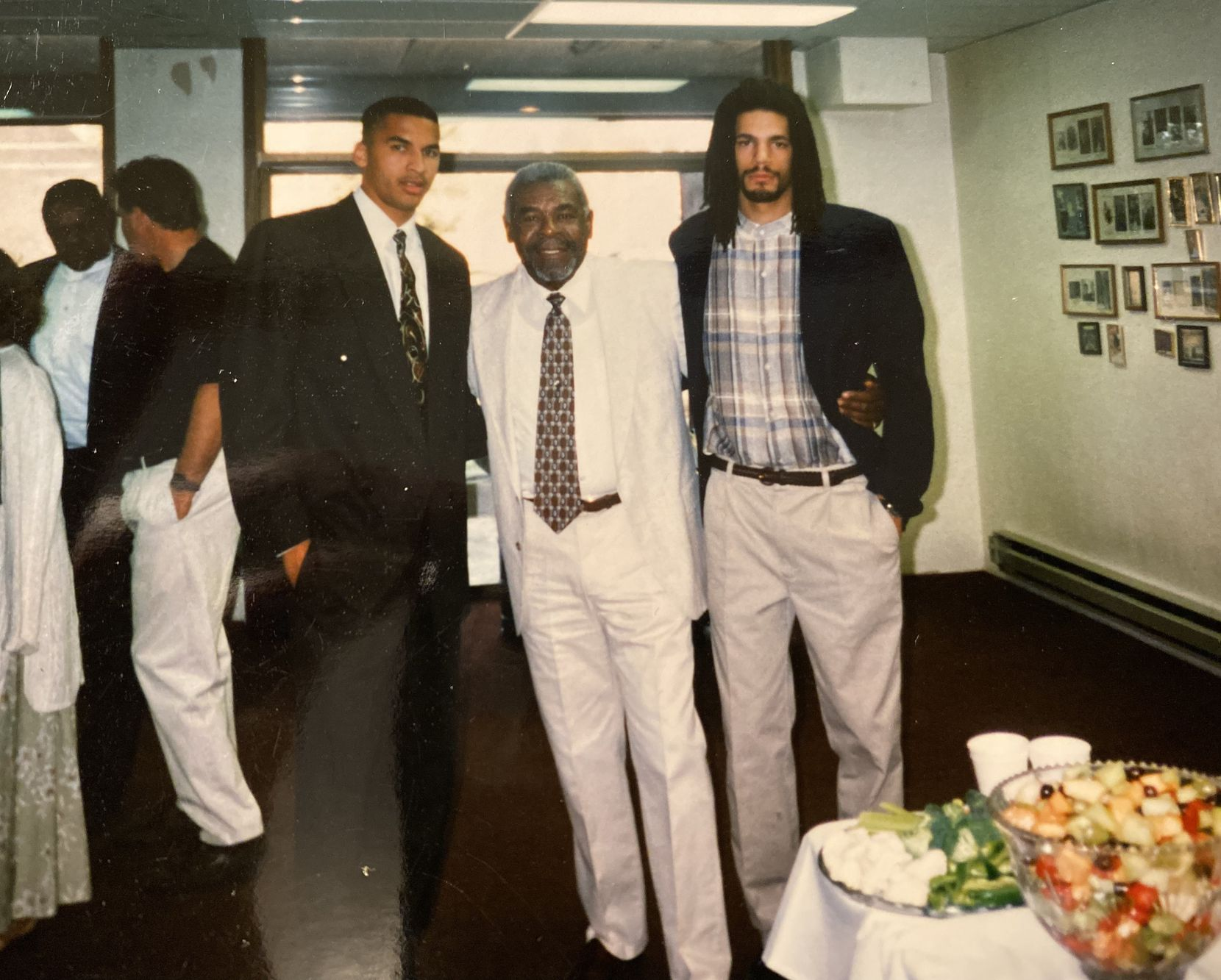New Mavericks general manager Nico Harrison (left) pictured with his father Steve Harrison and brother Brandon Harrison. Steve Harrison died of cancer in 2016.