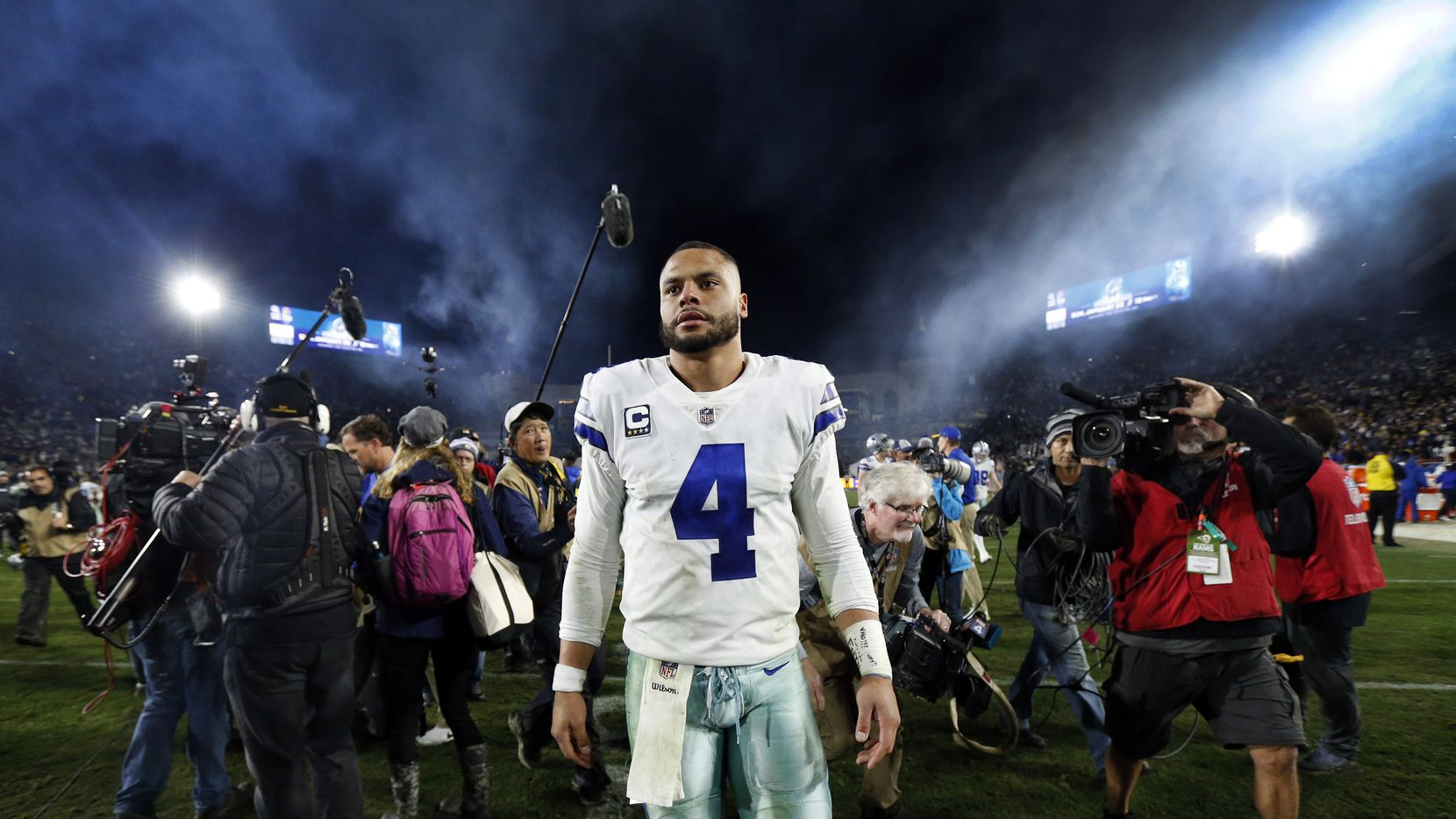 Dallas Cowboys quarterback Dak Prescott (4) leaves the field after losing to the Los Angeles Rams in their NFC Divisional Playoff game at Los Angeles Memorial Coliseum in Los Angeles, Saturday, January 12, 2019. The Cowboys lost 30-22.