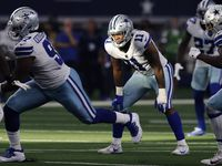 Dallas Cowboys outside linebacker Micah Parsons (11) waits for a New York Giants play to develop during the fourth quarter at AT&T Stadium in Arlington, Texas, Sunday, October 10, 2021.