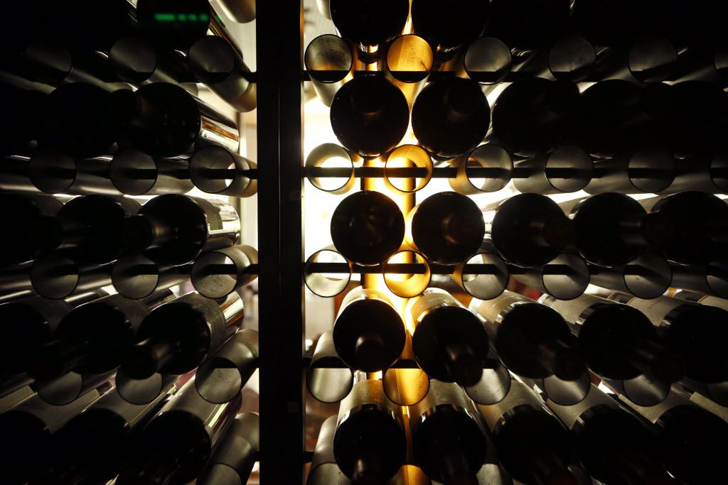 The view from behind the wall of wine on the upper level dining room of the new Del Frisco's Double Eagle Steak House in Uptown Dallas, Friday, September 9, 2016. The original, located on Spring Valley since 1994, has closed and the new one opens Saturday. (Tom Fox/The Dallas Morning News)