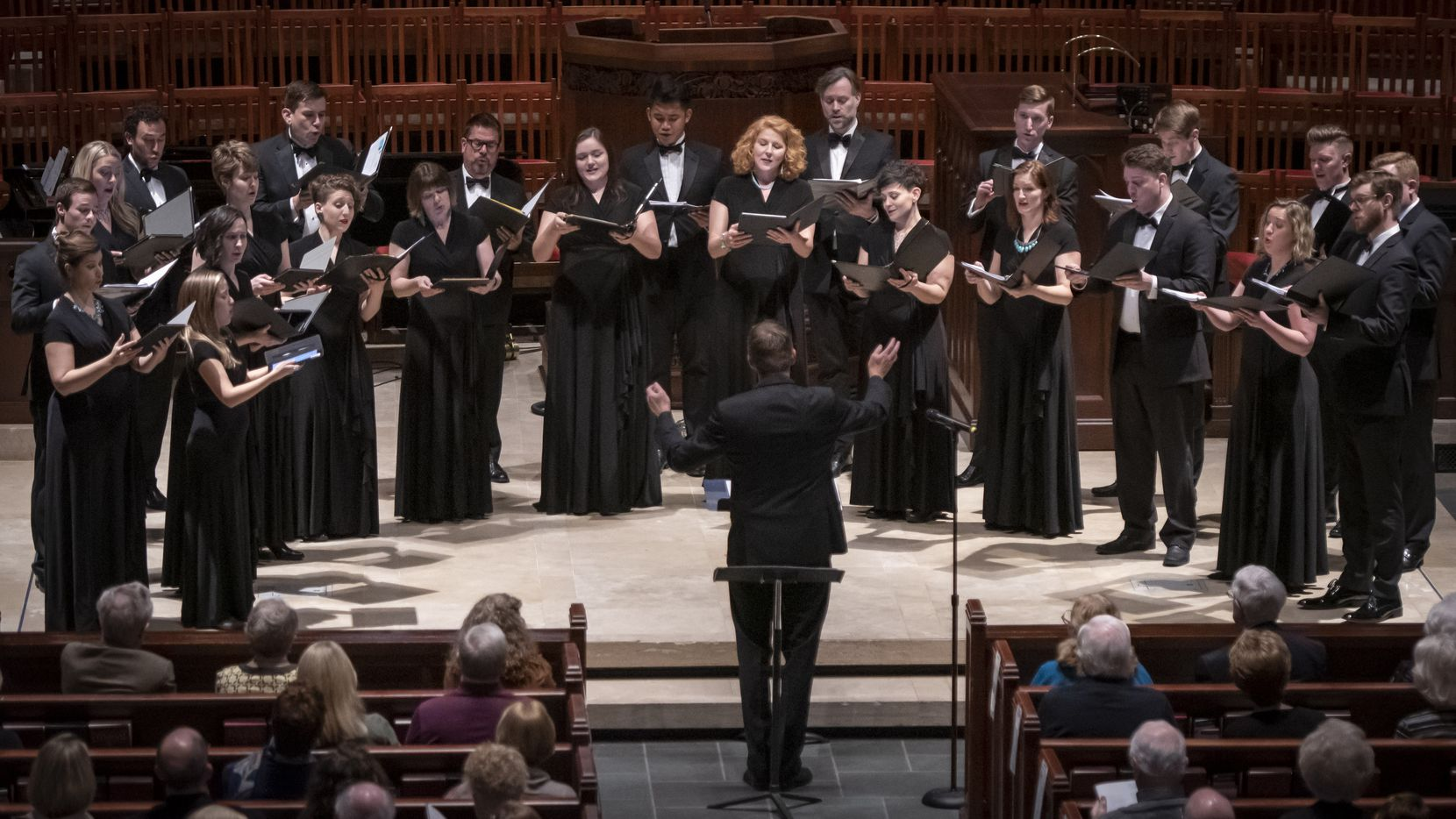 Members of the Santa Fe Desert Chorale perform under the direction of Joshua Habermann at Highland Park United Methodist Church on March 1, 2020 in Dallas, Texas. (Robert W. Hart/Special Contributor)