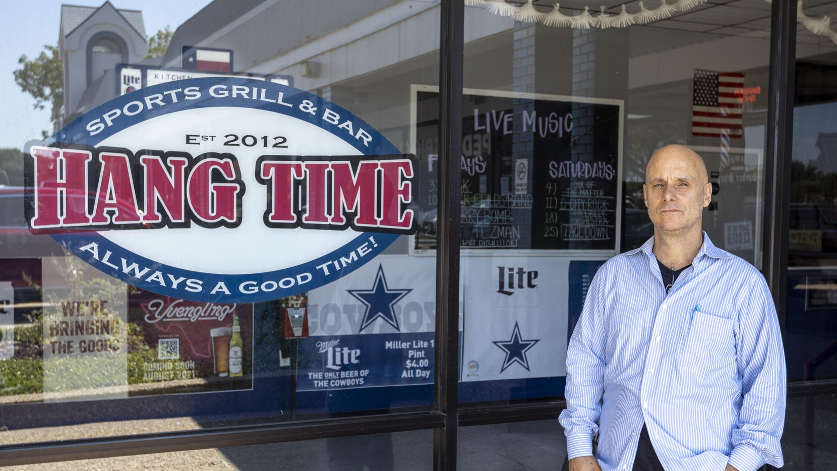 Owner Tom Blackmer pictured outside Hang Time Sports Bar and Grill on Sept. 20, 2021, in Rowlett, Texas. Blackmer recently asked a couple to leave the restaurant after they were wearing masks while inside the establishment.