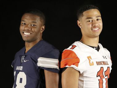 Players of the Year - Co-offensive players of the year Marvin Mims, left, of Frisco Lone Star High School and Rockwall High School wide receiver Jaxon Smith-Njigba, right, pose for pictures in The Dallas Morning News studio on Monday, Dec. 23, 2019 (Irwin Thompson/The Dallas Morning News).