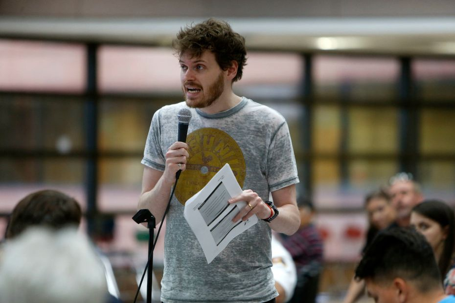Brandon Herrmann, one of the Oak Cliff residents speaking out against the deck park, said the money would be better spent on libraries.(Rose Baca/The Dallas Morning News)