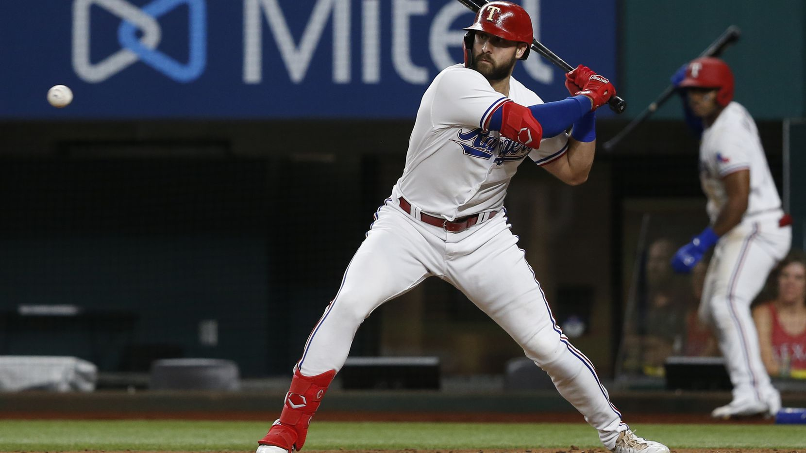 Texas Rangers designated hitter Joey Gallo (13) eyes the ball during the fifth inning against the Oakland Athletics at Globe Life Field on Tuesday, June 22, 2021, in Arlington. (Elias Valverde II/The Dallas Morning News)