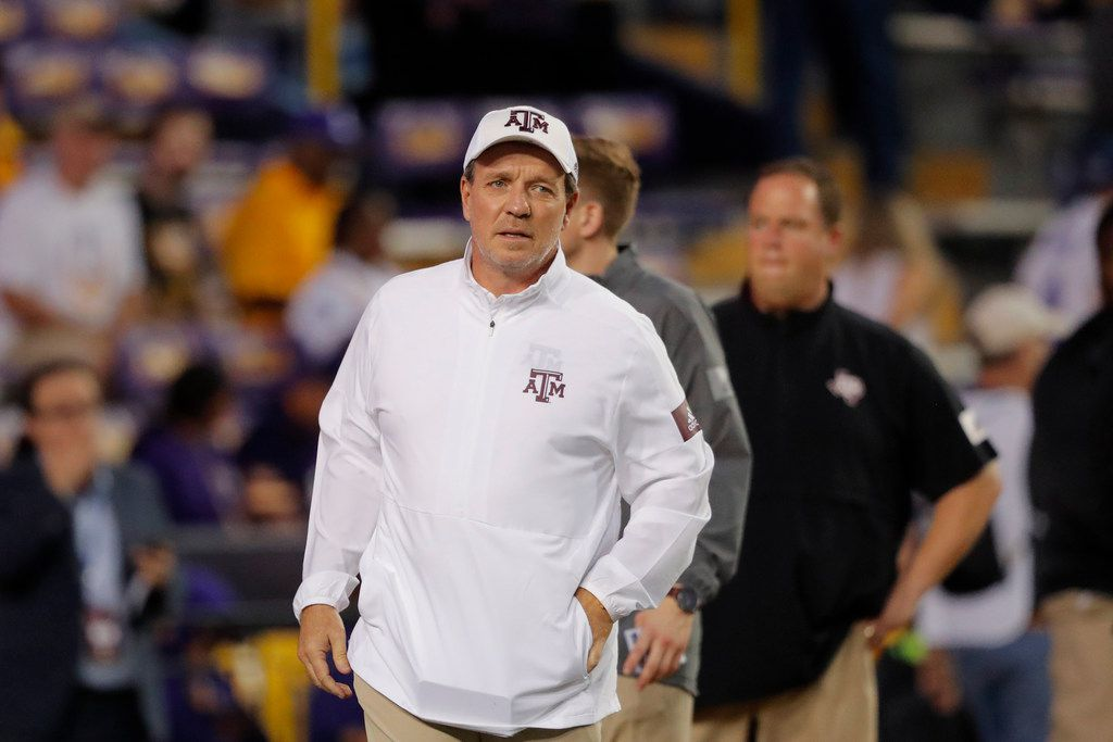 Texas A&M head coach Jimbo Fisher walks on the field before an NCAA college football game against LSU in Baton Rouge, La., Saturday, Nov. 30, 2019.