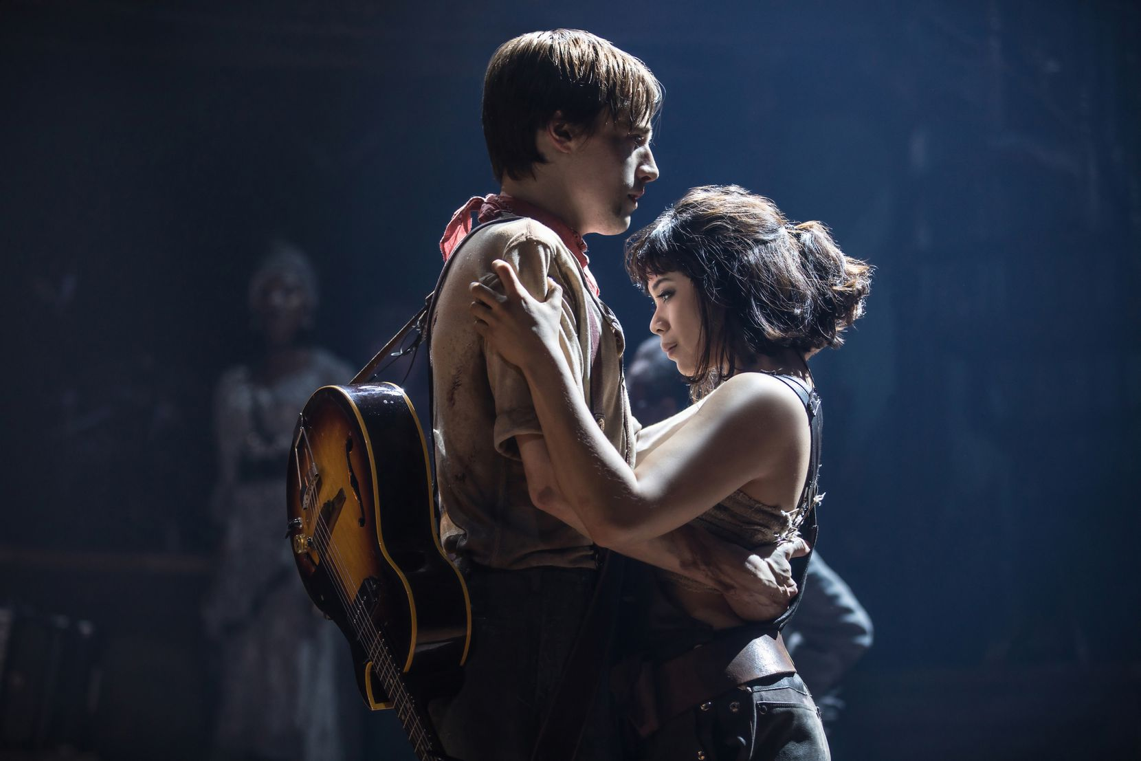 "Reeve Carney and Eva Noblezada perform in the Broadway musical ""Hadestown."""