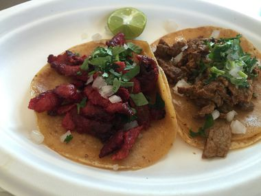 An al pastor taco (left) and a bistek taco at Trompo on Singleton Boulevard in West Dallas