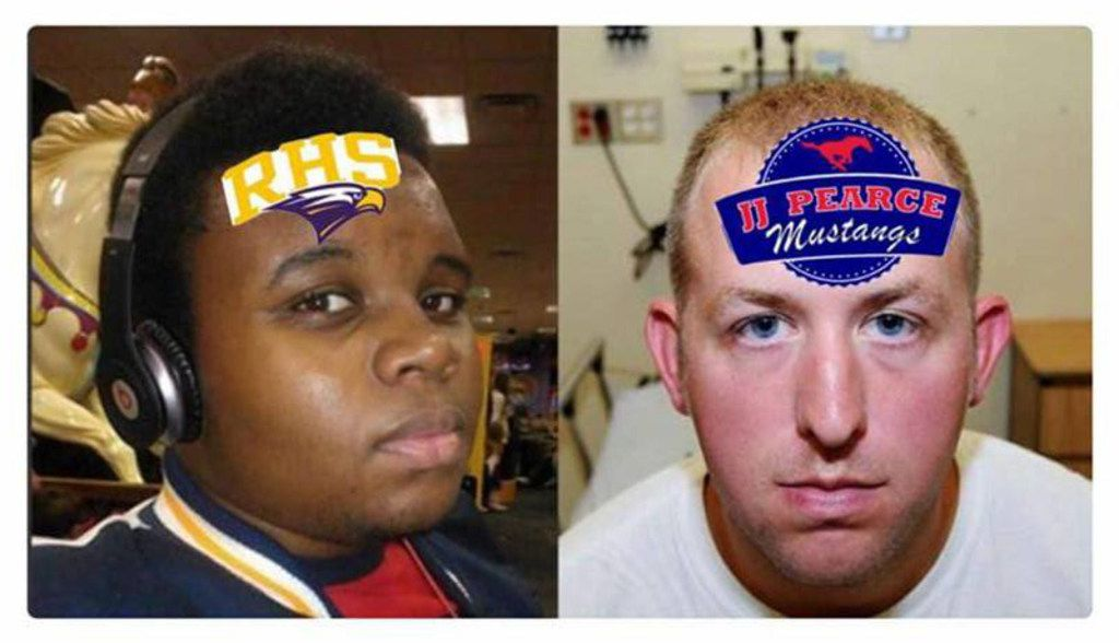 A pairing of images of Michael Brown and former Ferguson, Mo., police Officer Darren Wilson was turned into a J.J. Pearce vs. Richardson meme.