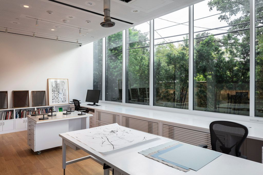 Suzanne Deal Booth Conservation Lab of the Louisa Stude Sarofim Building housing the Menil Drawing Institute, at The Menil Collection in Houston. Johnston Marklee, architects; Michael Van Valkenburgh Associates, landscape architects
