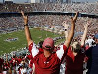 Oklahoma Sooners fans cheer as it appeared they scored the first touchdown of the Red River Rivalry at the Cotton Bowl in Dallas, Saturday, October 10, 2020. The came up short but went onto win later in quadruple overtime, 53-45.