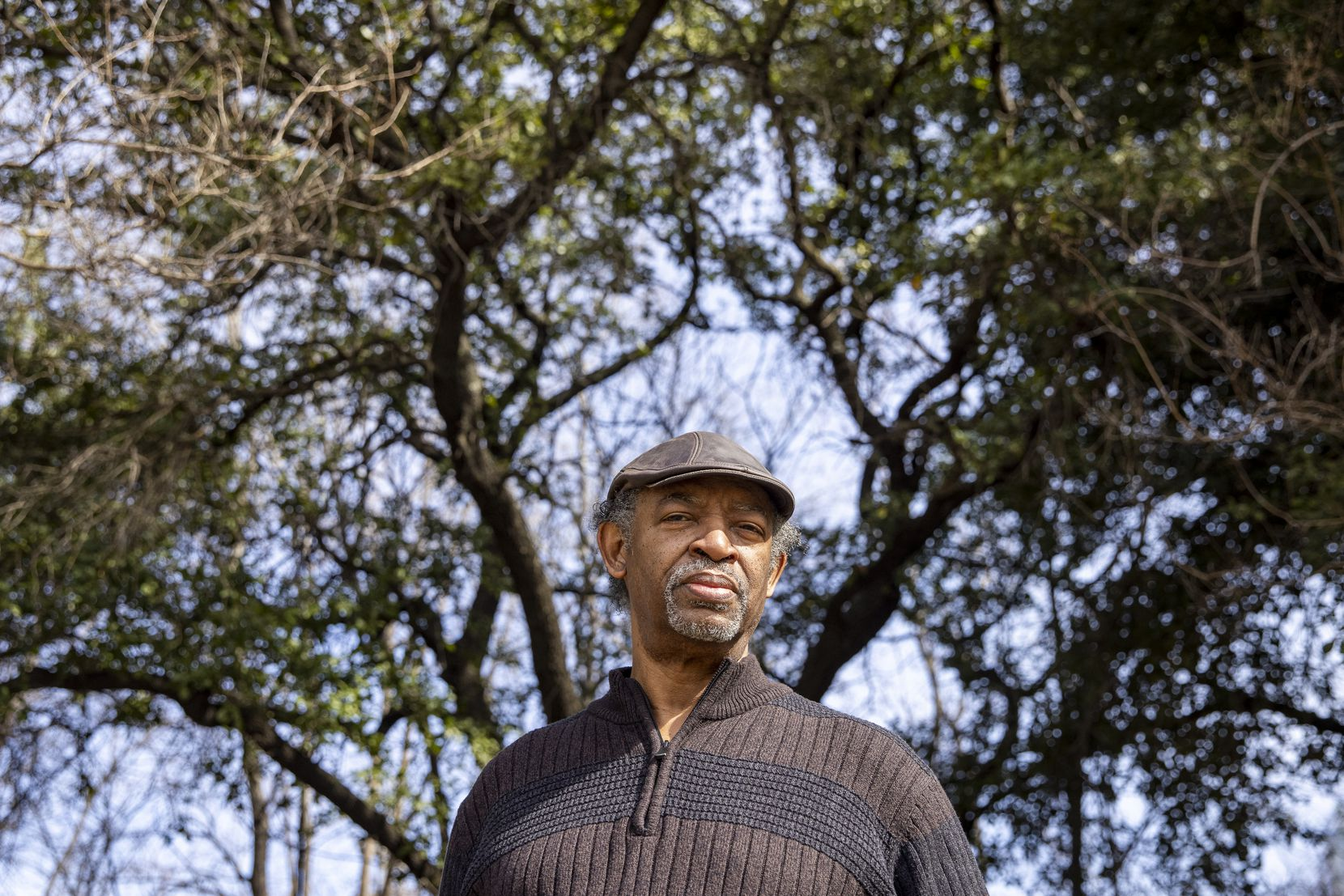 Dr. George Keaton, the head of Remembering Black Dallas, poses for a portrait at Martyr's Park in downtown Dallas on Wednesday, Feb. 3, 2021.