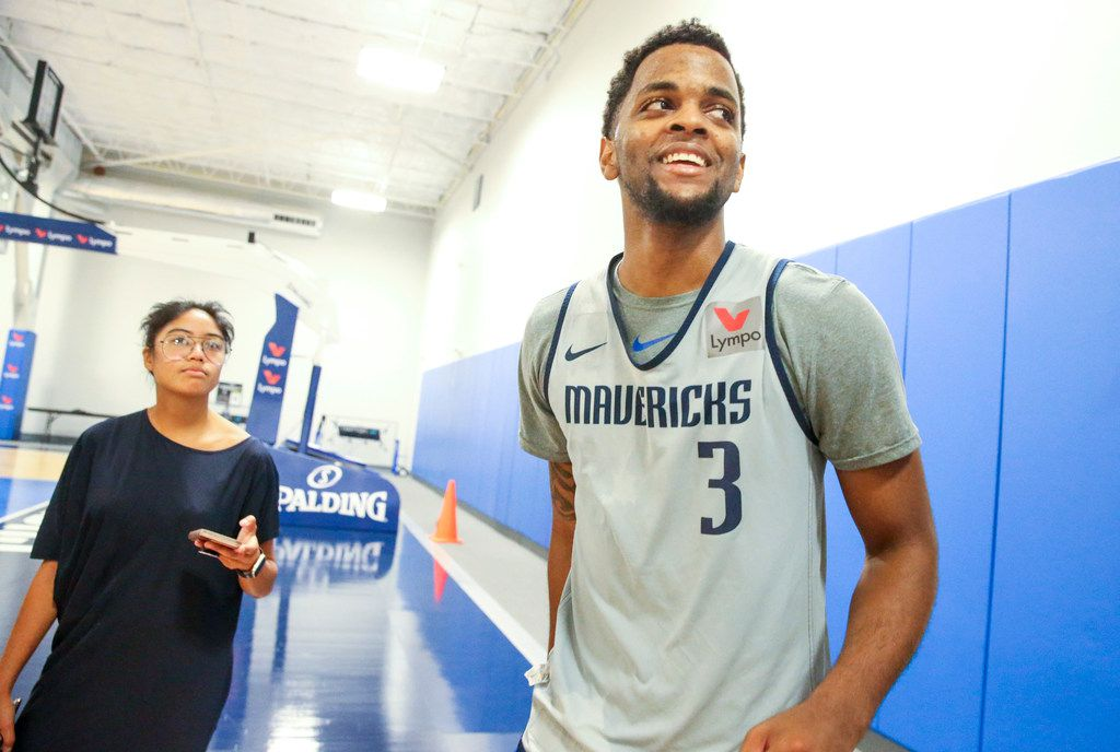 Daryl Macon G (3) answers question from the media during the Dallas Mavericks Summer League practice at the Mavs practice facility in Dallas on Wednesday, July 3, 2019. (Shaban Athuman/Staff Photographer)