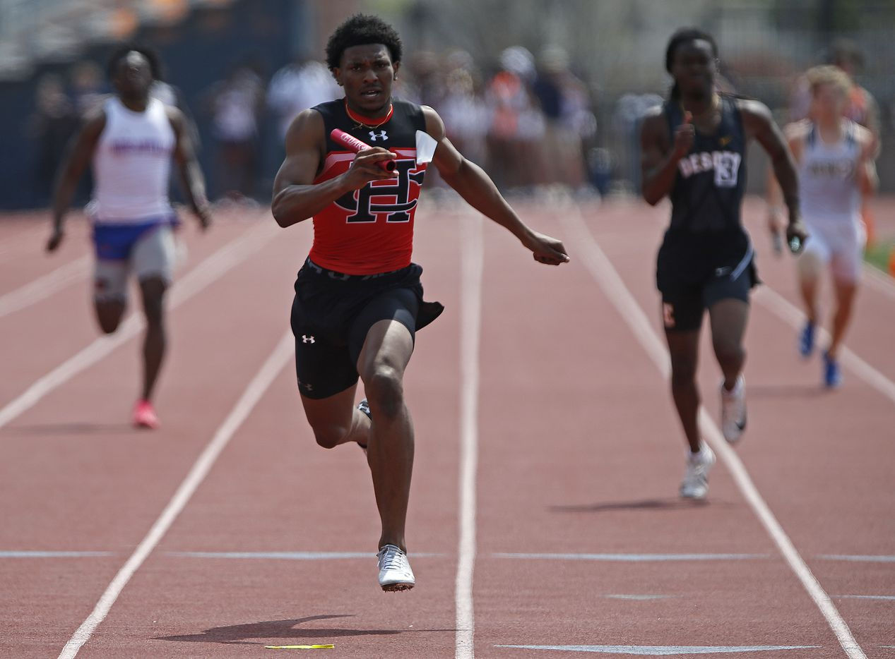 Diallo Good, 18, finishes first in the boys 4x100 for Cedar Hill High School during the Jesuit-Sheaner Relays held at Jesuit College Preparatory School in Dallas on Saturday, March 27, 2021.  (Stewart F. House/Special Contributor)