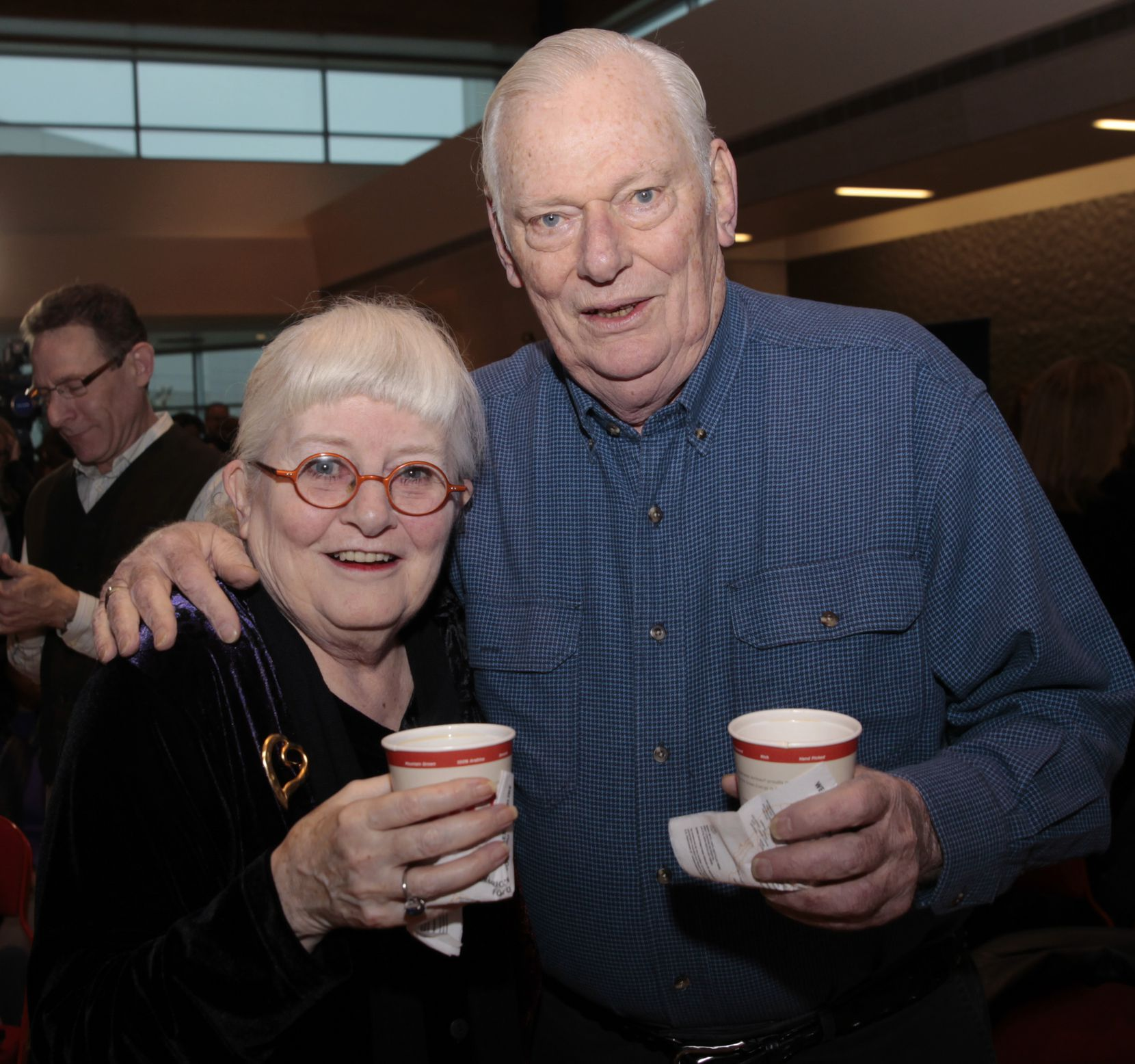 Colleen Barrett, president emeritus, and Herb Kelleher, founder and chairman emeritus, are shown at a news conference at Dallas Love Field on Feb. 3, 2014, when Southwest Airlines announced plans to add more nonstop flights after Wright Amendment restrictions were lifted.