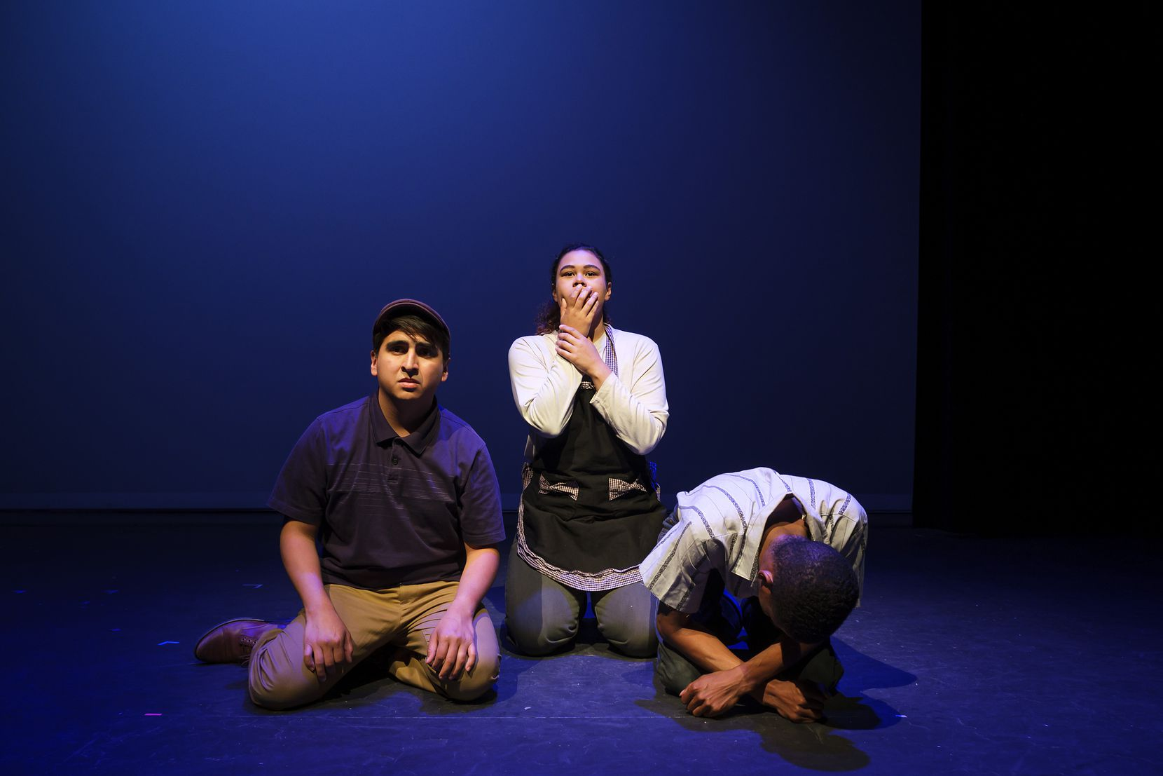 From left, actors Edwin Aguilar, Jenna Davis-Jones and Elliot Sims in a scene from Cara Mia Theatre Co.'s production of 'El Malcriado' at the Latino Cultural Center in 2019.