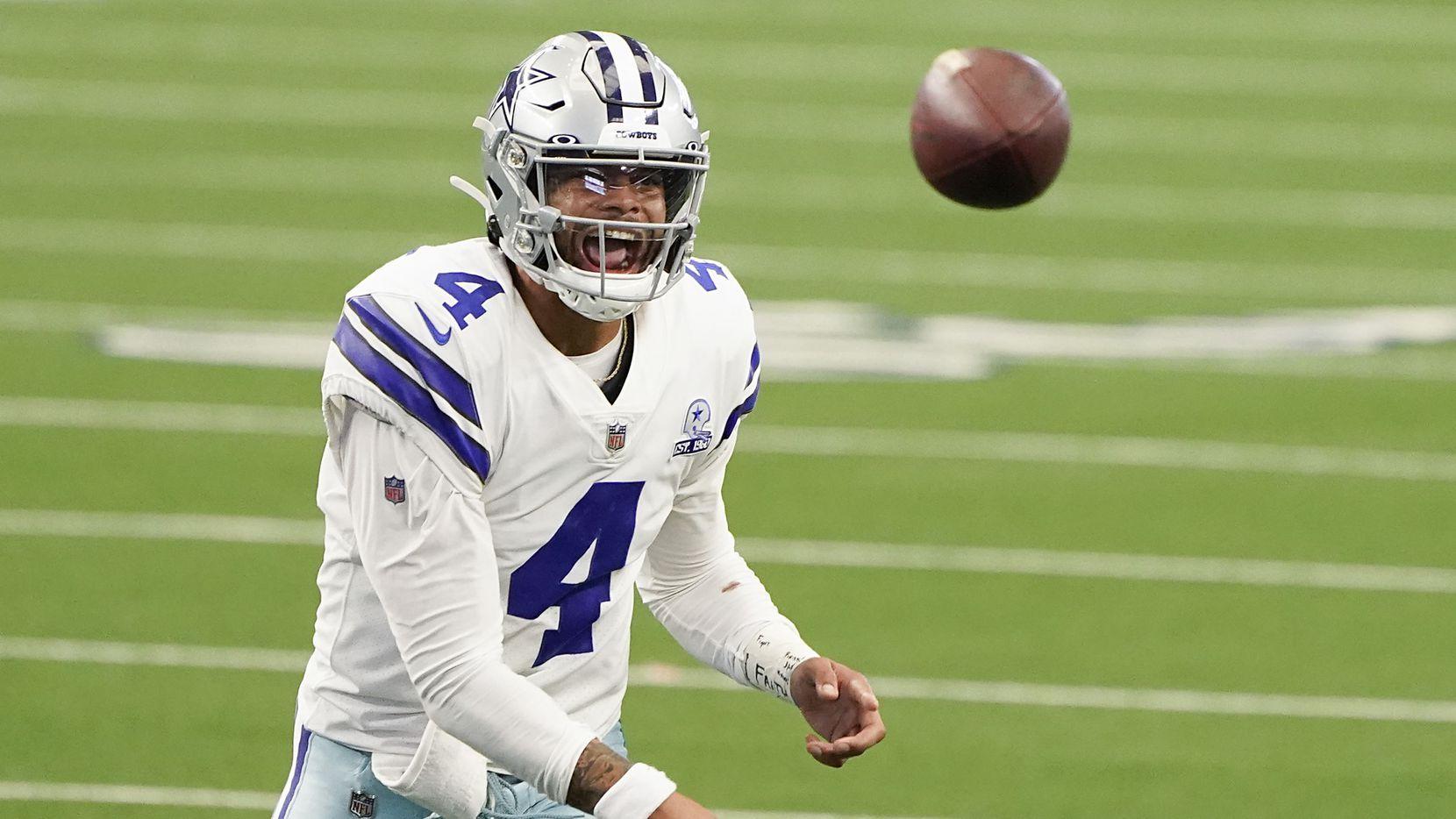 Dallas Cowboys quarterback Dak Prescott throws a pass during the second quarter of an NFL football game Atlanta Falcons at AT&T Stadium on Sunday, Sept. 20, 2020, in Arlington. (Smiley N. Pool/The Dallas Morning News)