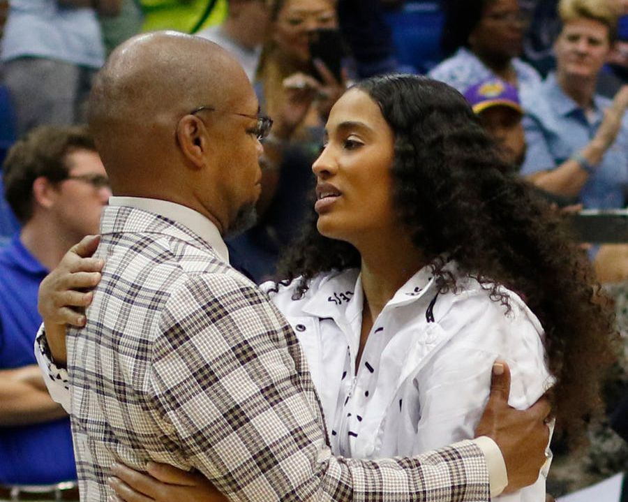 Dallas Wings guard Skylar Diggins-Smith shares a hug with former head coach Fred Williams following the Wings' 74-62 victory over the Los Angeles Sparks. Williams is one of the assistant coaches for the Sparks. The two teams played their WNBA game at College Park Center in Arlington on July 9, 2019. (Steve Hamm/ Special Contributor)