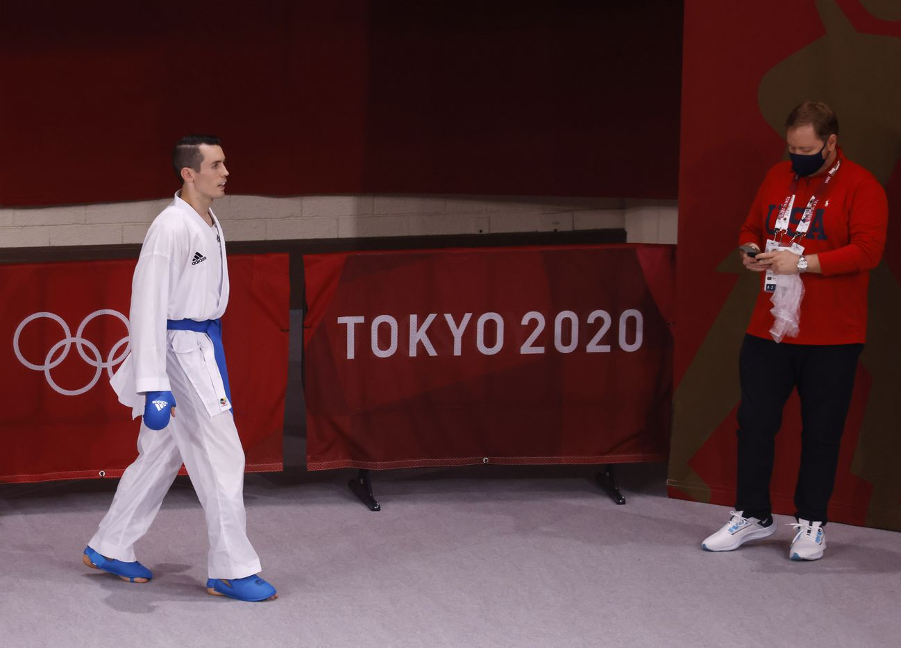 USA's Tom Scott paces before competing in the karate men's kumite -75kg elimination round at the postponed 2020 Tokyo Olympics at Nippon Budokan, on Friday, August 6, 2021, in Tokyo, Japan. Scott finished in fourth place in his pool and did not advance to the next round. (Vernon Bryant/The Dallas Morning News)