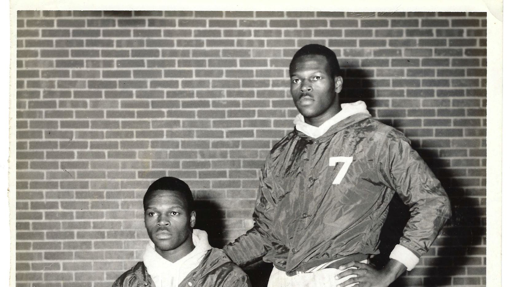 Gene Pouncy (left) and his twin brother Joe in the Lincoln HS gym in 1970.