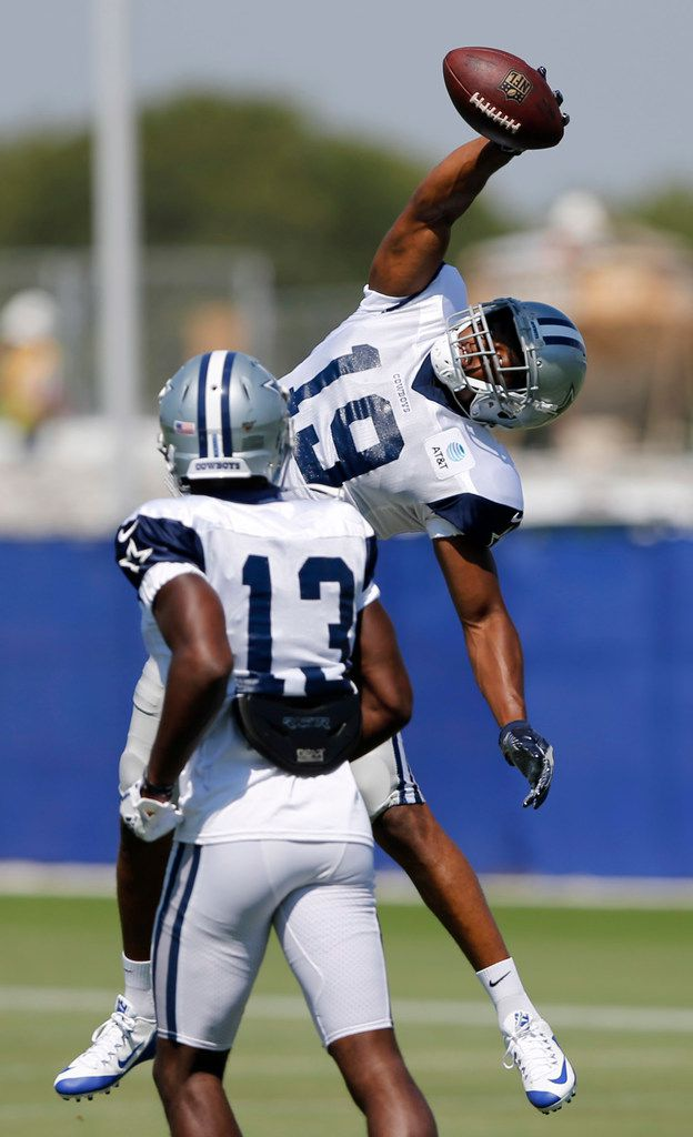 Dallas Cowboys wide receiver Amari Cooper (19) makes a one handed catch during practice at The Star in Frisco, Texas on Wednesday, September 4, 2019.