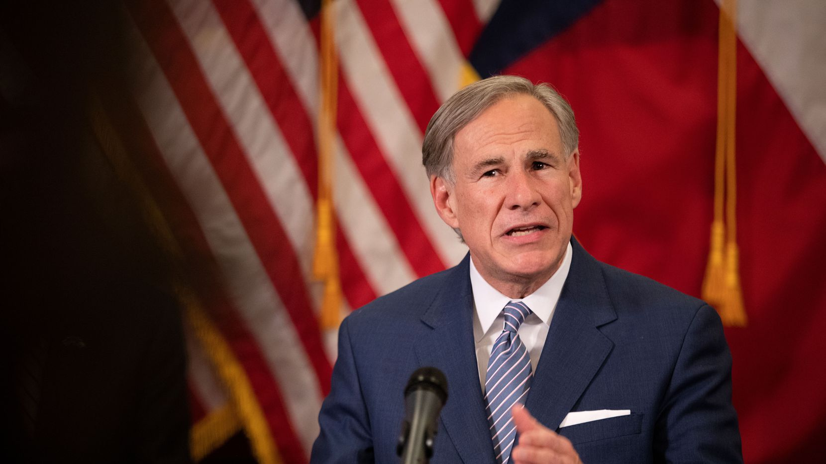 Gov. Greg Abbott announced a strike force in charge of laying steps to re-open the Texas economy in the wake of shutdowns to flatten the curve of the new coronavirus, at a news conference in the capitol on April 17, 2020 in Austin.