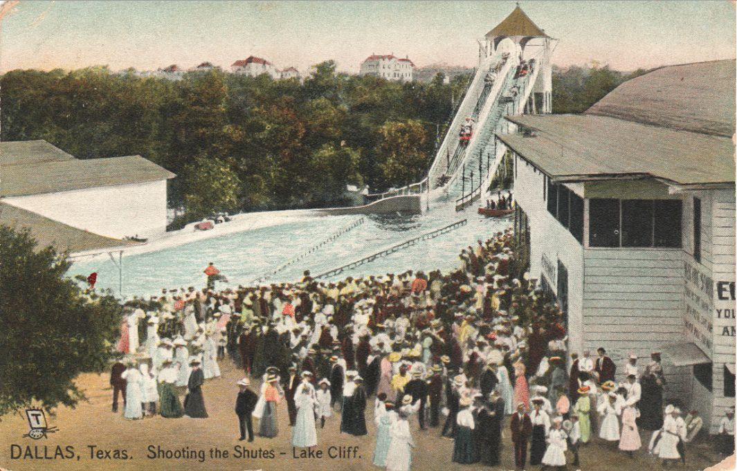 An old postcard of Lake Cliff Park shows residents gathered at the amusement park.