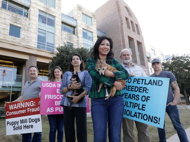 From left, some of the animal advocates who have spoken out for a retail-sales ban on pets -- Alec Whitehouse, Laura Rummel, Rebecca Whitehouse, Joy Lucas, Dan Tatsch, and Robert Hand -- gathered for a photo in front of the George A. Purefoy Municipal Center in Frisco this week.