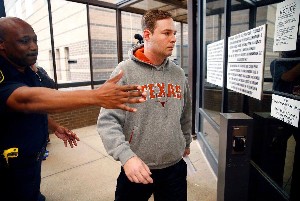 Austin Shuffield, 30, heads for the Frank Crowley Courthouse to hit for a ride after being released on a $1000 bond from the jail, Friday, March 29, 2019.  Shuffield was booked into the Dallas County Jail about 8:15 a.m. Friday on an unlicensed-weapon charge, one of four misdemeanors he faces, along with assault, interfering with an emergency call and public intoxication. The latest arrest warrant for Shuffield reveals that police believe he pulled out a gun during his argument with L'Daijohnique Lee, just before the March 21 fight.