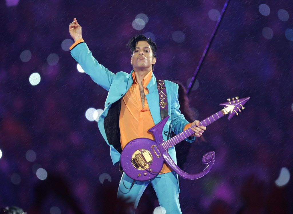 In Feb. 4, 2007, Prince performs during the halftime show at the Super Bowl XLI football game at Dolphin Stadium in Miami.