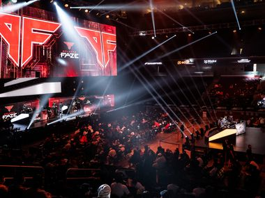 Fans wait for the start of the final day of the Call of Duty league playoffs at the Galen Center on Sunday, August 22, 2021 in Los Angeles, California. The Atlanta FaZe compete against Toronto Ultra in the championship round at 12pm PST.