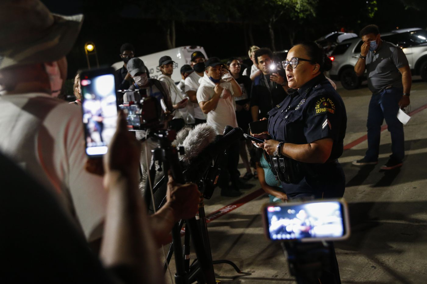 Dallas Police Senior Corporal Melinda Gutierrez addresses members of the media outside of Galleria Mall, where a shooting was reported Tuesday, June 16, 2020 in Dallas.