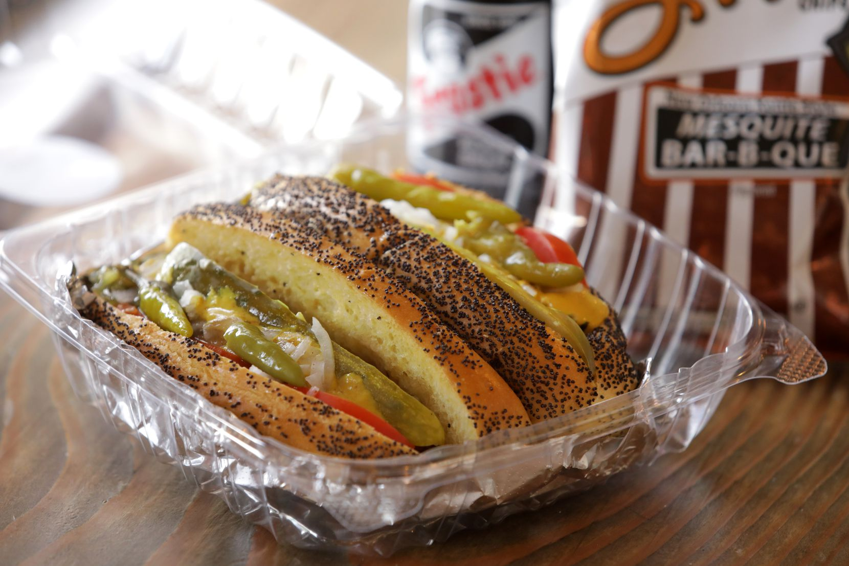"""The Chicago Dogs """"Let's Play Two"""" is a pair of loaded hot dogs served at New York Sub."""