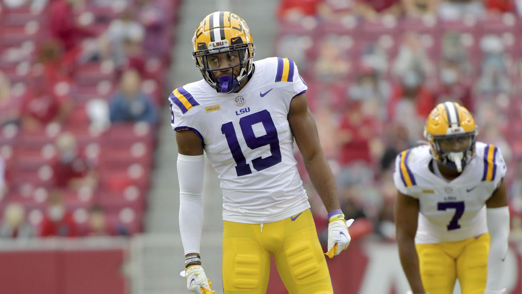 LSU defensive back Jabril Cox (19) against Arkansas during an NCAA college football game Saturday, Nov. 21, 2020, in Fayetteville, Ark.