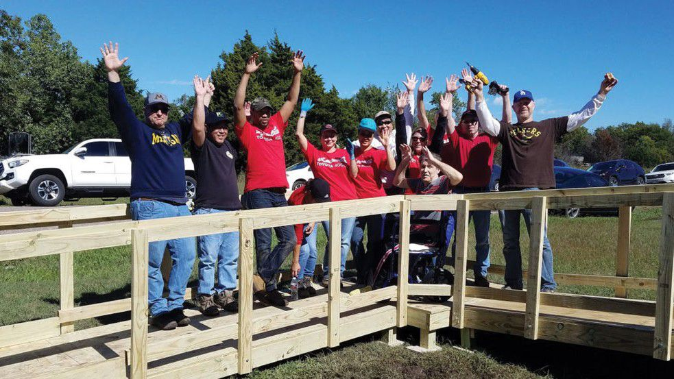 Toyota partners with Texas Ramp Project to build wheelchair ramps throughout Texas for elderly people in need.