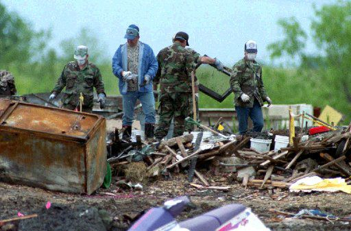 Workers continued to sift through the burned Branch Davidian compound on April 29, 10 days after the fiery end of the standoff.