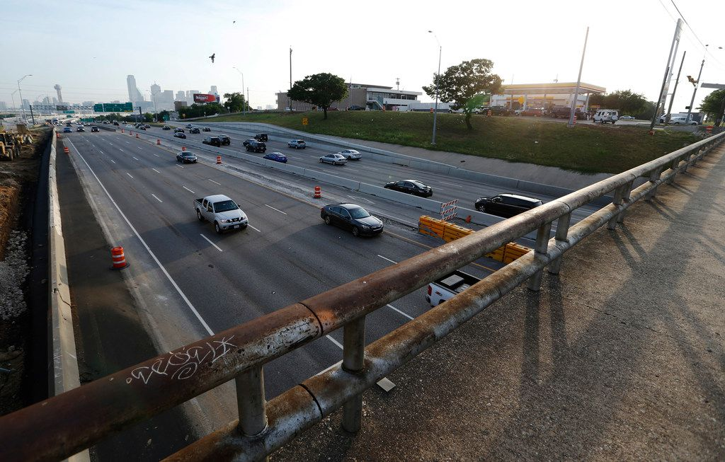 The 8th street bridge at Interstate 35E in Dallas on Thursday8. The bridge is closed and the crossing will remained closed for the next six months as part of TxDOT's Southern Gateway project.