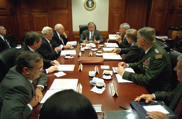 President George W. Bush met with his national security advisers in the weeks after 9/11.
