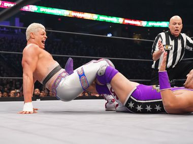 Cody Rhodes attempts a submission hold on an episode of AEW Dynamite in Chicago, Illinois.